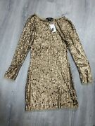 Semi- Sheer Rose Gold Sequin Arden B Party Dress. Size Xs Rt 128.00