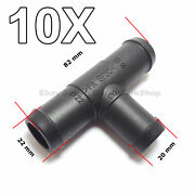 10x 20mm To 22mm T-piece 3-way Hose Tube Pipe Splitter Connector Air Fuel Water