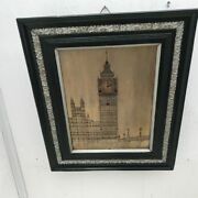 Antique Musical Wall Clock, Big Ben Silvered On Copper Dial