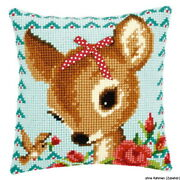 Vervaco Stamped Cross Stitch Kit Cushion Bambi With A Bow Diy