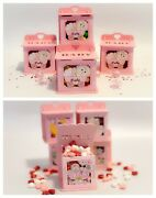 Set Of Baby Shower Wooden Boxes Pink Girl Party Ideas Gift Favor Bags Decoration