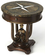 Ornate Stone Top Accent Table With Elizabethan Turned Cup Pedestal And Pineapple