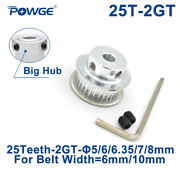 2gt 25 Teeth Synchronous Timing Pulley Bore 5-8mm For Gt2 Belt Width 6/10mm 25t