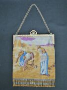 C. 1910 French Steel Bead Handbag With Image Of The Gleaners Nr. Mint