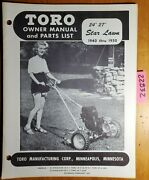 Toro 1940-1950 24 27 Starlawn Lawn Mower Owner's Operator's And Parts Manual