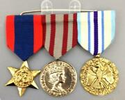 Military Medal Bar Pin 3 Multi Color Ribbon Medals W/ Medallions Costume Accs