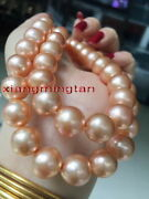 Long Aaaaa 3612-14mm Real Natural Round South Sea Gold Pink Pearl Necklace 14k