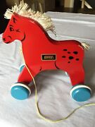 Vintage Brio Wooden Red Horse Pull Toy From The 1970's. Made In Sweden.