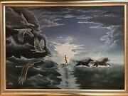 Epic 42andrdquo Surrealist Painting Fantasy Oil On Canvas Raptor Horse Mystery Signed