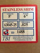 """Stainless Steel Shim Stock .025"""" Thick 6"""" Wide 5' Long Sheet New Unopened Box"""