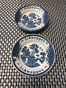 2 1970andrsquos Blue Willow Enoch Wedgwood Tunstall Schweppes Bar Tip Dishes 4 3/4andrdquo