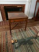 Kittinger Side Table W/brass Casters And Drawer Exc