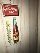 Vintage 1950's Rc Royal Crown Cola Soda Pop Embossed Metal Thermometer Signnice
