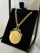 C19th 22ct Yellow Gold Pond With Applied Scrollwork Pendant Mount And 9ct Chain