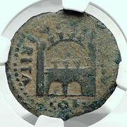 Tiberius Authentic Ancient Emerita Spain City Gate And Walls Roman Coin Ngc I78516