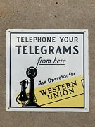 """Telephone Your Telegrams Western Union Sign Light Wear 13"""" X 13"""""""