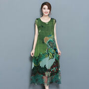 2019 Womenand039s Silk Printed Loose Dress Chinese Style Retro Casual Long Dresses
