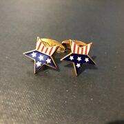 American Flag Star Shaped 18ct Yellow Gold Cufflinks By Deakin And Francis