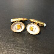 Hand Painted Beer And Cigar 18ct Yellow Gold Cufflinks By Deakin And Francis