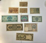 Lot Of 10 Bills And 39 Foreign Coins 1930and039s Some Silver