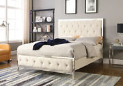 Contemporary Design Bedroom Furniture Queen Size Bed Beige Fabric Chrome Frame