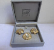 Authentic Rare Vintage Lalique Frosted Glass Ladies Faces Earrings And Pendant Set
