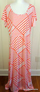 Just Be 3x Orange Striped Stretch Knit Open Back Beach Pool Cover Up Maxi Dress