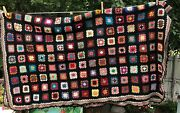 Vintage Granny Square Afghan Stained Glass Black Border Nicely Done