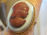 14k Vintage Georgian Glass Or Faux Hardstone Cameo Ring Of Isis