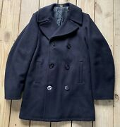 Vintage Navy Thick Wool Peacoat Jacket Anchor Buttons Size 34