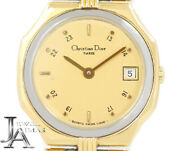 Christian Dior Vintage 48.15.01 Date Ygp / Ss Ladies Qz From Japan [a0619]