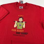Vintage 1991 Cub Scout Day Camp T-shirt M 38-40 Med. 50/50 Soft/thin 90's Oneita