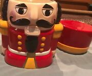 Nutcracker Ceramic Cookie Jar Red Cap Yellow Black And Red