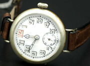 Antique Vintage Gerber Swiss Trench Watch 20and039s Rare 7jewels Runs