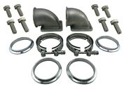 3 Vband 90 Degree Cast Elbow Adapter Flanges + V-band Clamps Bolts T4 T3 Turbo