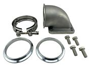 3 Vband 90 Degree Elbow Adapter Flange And Bolts For Exhaust Manifold To T4 + T3