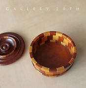 Cool Mid Century Modern Calif Redwood Catchall Pottery 50s Wood Bowl Knoll Vtg