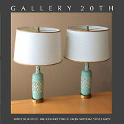 Lovely Pair Mid Century Modern Atomic Space Age Table Lamps Blue Vtg 50s Retro
