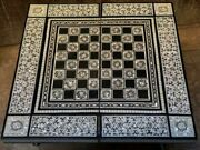 Handmade Games Table Chess And Backgammon And Poker Wood Inlaid Mother Of Pearl