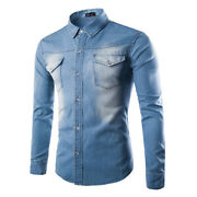 New Menand039s Washed Denim Jean Shirt Long Sleeve Casual Button Up Shirt Cotton Tops