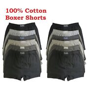 100 Cotton Pack Of 6x 12x Mens Boxer Shorts Extra Soft Button Fly Underwear