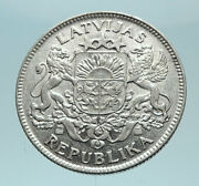 1924 Latvia Lions And Shield Genuine Vintage Silver European Lats Coin I78774