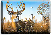 Whitetail Deer Buck Antlers 4 Gang Light Switch Wall Plate Cabin Room Home Decor