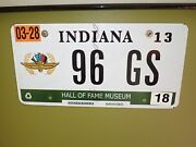 1996 Corvette Grand Sport Indy 500 Hall Of Fame License Plate Indiana 1 Of 2
