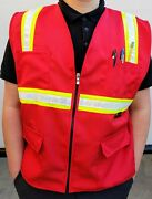 Fx Two Tone Hi-vis Red Safety Vest With 4 Front Pocket Small To 3xl