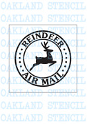 Reindeer Stencil Painting Wood Sign Christmas Round Air Mail Stamp Canvas
