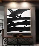 48 X 48 Black And White Painting Large Minimalist Abstract Art - L. Beiboer