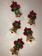 5 Pc German Glass Glitter Vintage Christmas Ornaments Bell With Bow Euc Free S/h