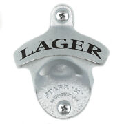 New Lager Wall Mounted Bottle Opener With Screws Zinc Plated Cast Iron Mancave