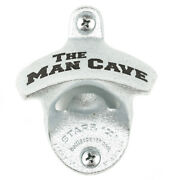 New The Man Cave Wall Mounted Bottle Opener With Screws Zinc Plated Cast Iron